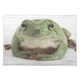 Front View Studio shot of a Smiling, Whites Tree Cloth Placemat