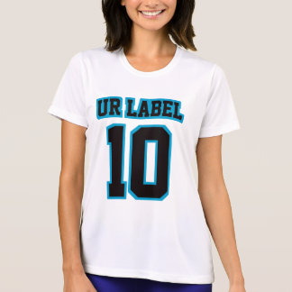 Front WHITE BLACK BLUE Womens Slim Fit Performance T-Shirt