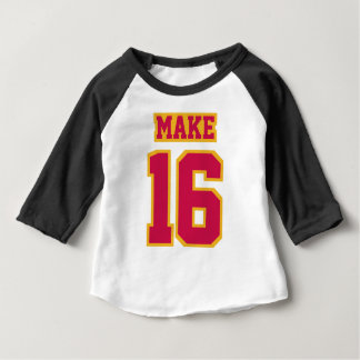 Front WHITE BLACK CRIMSON GOLD 3/4 Sleeve Raglan Baby T-Shirt
