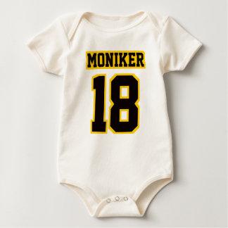 Front WHITE BLACK GOLD Organic Football Jersey Baby Bodysuit