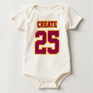 Front WHITE BURGUNDY GOLD Organic Football Jersey Baby Bodysuit