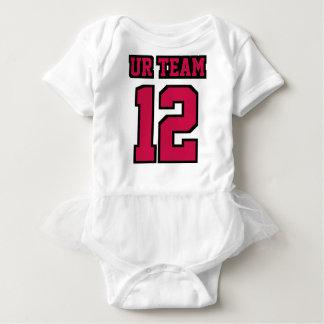 Front WHITE CRIMSON BLACK Tutu Football Jersey Baby-Einteiler