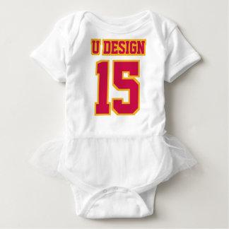 Front WHITE CRIMSON RED GOLD Tutu Football Jersey Baby-Einteiler