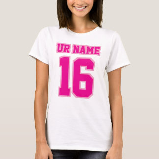 Front WHITE HOT PINK Womens Basic Cotton Tee