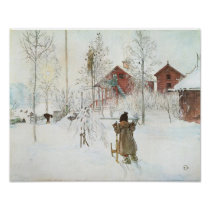 Front Yard and the Wash House by Carl Larsson Poster