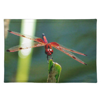 Frontal Red and Black Dragonfly Place Mat