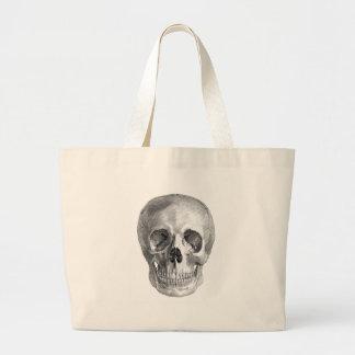 Frontal view drawing of a human skull jumbo tote bag