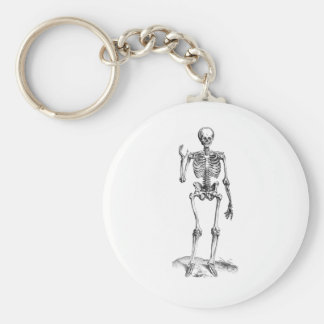 Frontal vintage drawing of a waving skeleton basic round button keychain