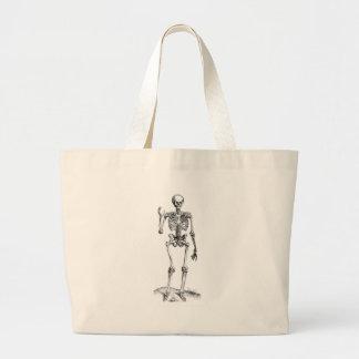 Frontal vintage drawing of a waving skeleton jumbo tote bag