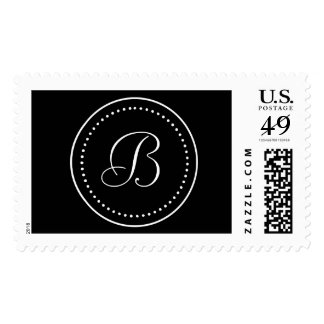 Frontera blanca negra redonda del punto del sello postal