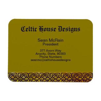 Frontera céltica del nudo en amarillo frondoso imán rectangular