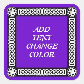 Frontera céltica en cualquier color pegatina cuadrada