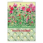 Frontera cercada de flores verdes y rosadas tarjetas