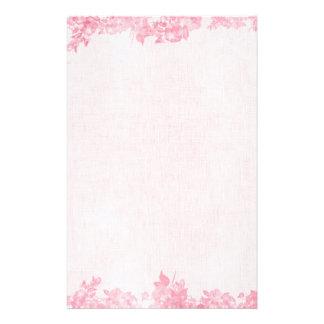 Frontera color de rosa rosada del vintage (2) papelería personalizada