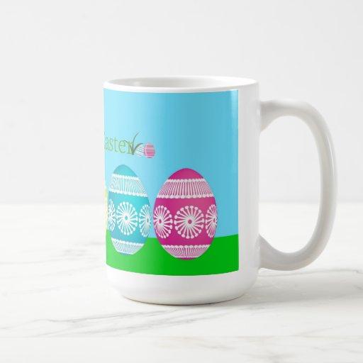Frontera colorida del huevo taza de café