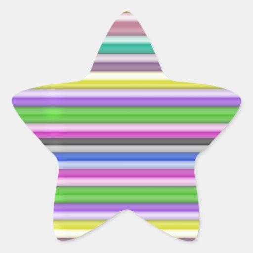 Frontera colorida del oro de las rayas n calcomanía forma de estrella personalizada