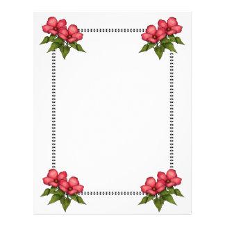 Frontera con las flores rosadas: Arte original Membrete Personalizado