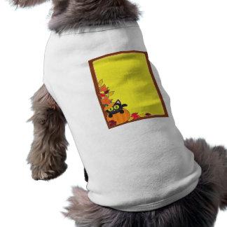 Frontera de la calabaza del gato negro camisas de perritos