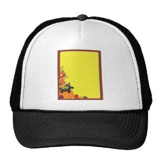 Frontera de la calabaza del gato negro gorras de camionero