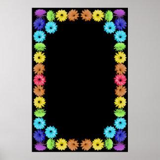 Frontera de la flor del arco iris poster