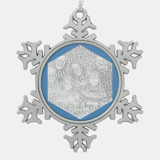 Frontera de la foto del hexágono del azul de acero adorno de peltre en forma de copo de nieve