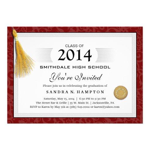Frontera de la graduación del diploma y borla roja invitacion personalizada