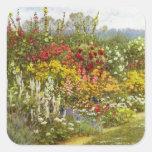 Frontera de la hierba y de la flor pegatinas cuadradases