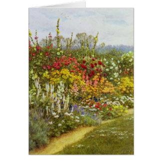 Frontera de la hierba y de la flor tarjeta de felicitación