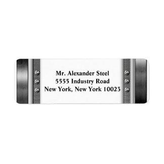 Frontera de la mirada del metal con las etiquetas etiquetas de remite