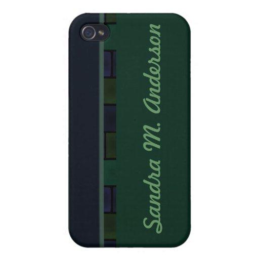 Frontera de la teja del verde azul iPhone 4 funda
