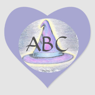 Frontera de Lavendar del monograma del gorra del Pegatina En Forma De Corazón