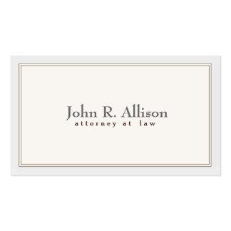 Frontera de marfil elegante y simple del abogado plantilla de tarjeta personal