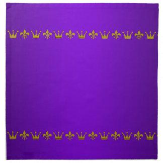 Frontera de oro de la corona y del lirio + su servilletas de papel