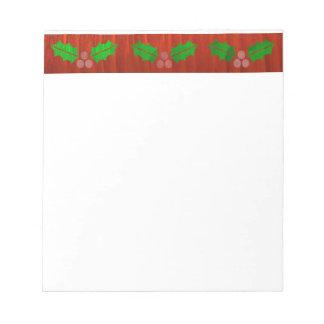 Frontera del acebo del navidad bloc de notas