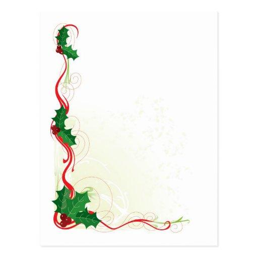 Frontera del acebo del navidad postales