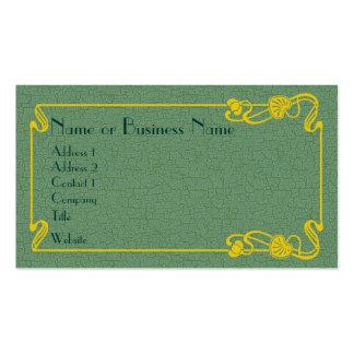Frontera del art déco del oro en verde tarjetas de visita