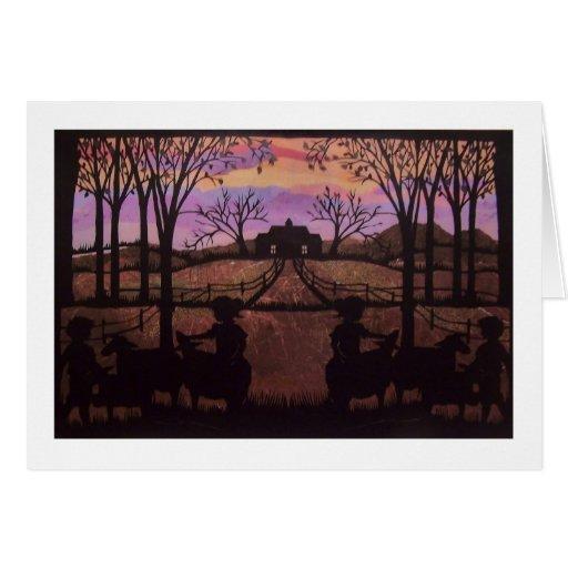frontera del blanco del sunsetlighterdark W. del v Tarjeta