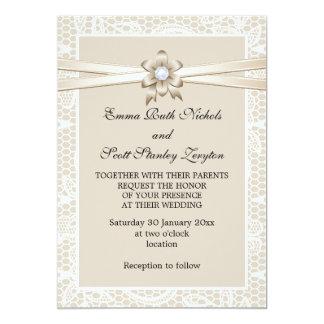 Frontera del cordón con el boda beige de la cinta invitación 12,7 x 17,8 cm