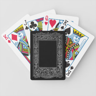 Frontera del marco de la sirena floral antigua del barajas de cartas