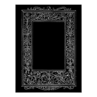 Frontera del marco de la sirena floral antigua del póster