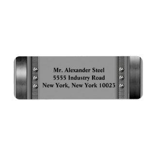 Frontera del metal con las etiquetas de los pernos etiqueta de remitente