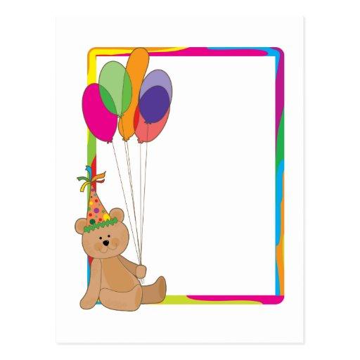 Frontera del oso del cumpleaños tarjetas postales