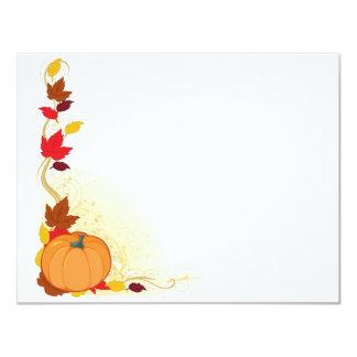 """Frontera del otoño de la calabaza invitación 4.25"""" x 5.5"""""""