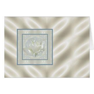 Frontera del satén del rosa blanco tarjeta de felicitación