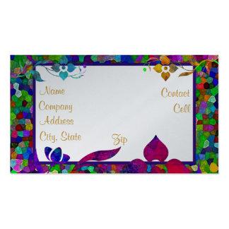 Frontera del vitral y de la flor plantillas de tarjetas de visita