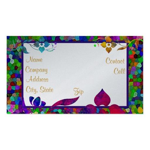 Frontera del vitral y de la flor tarjetas de visita