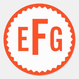 Frontera del zigzag del sello del monograma, rojo pegatinas redondas