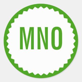 Frontera del zigzag del sello del monograma, verde etiquetas redondas