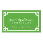 Frontera dominante griega elegante verde y blanca plantilla de tarjeta de negocio
