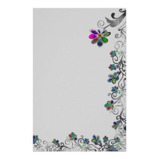 Frontera floral apenada papelería de diseño